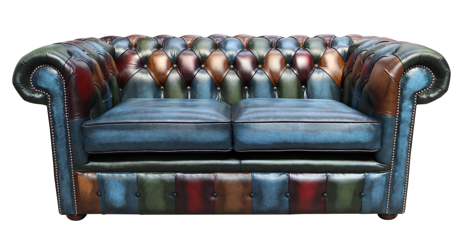 Awe Inspiring Chesterfield Patchwork Antique Blue 2 Seater Settee Leather Sofa Gmtry Best Dining Table And Chair Ideas Images Gmtryco