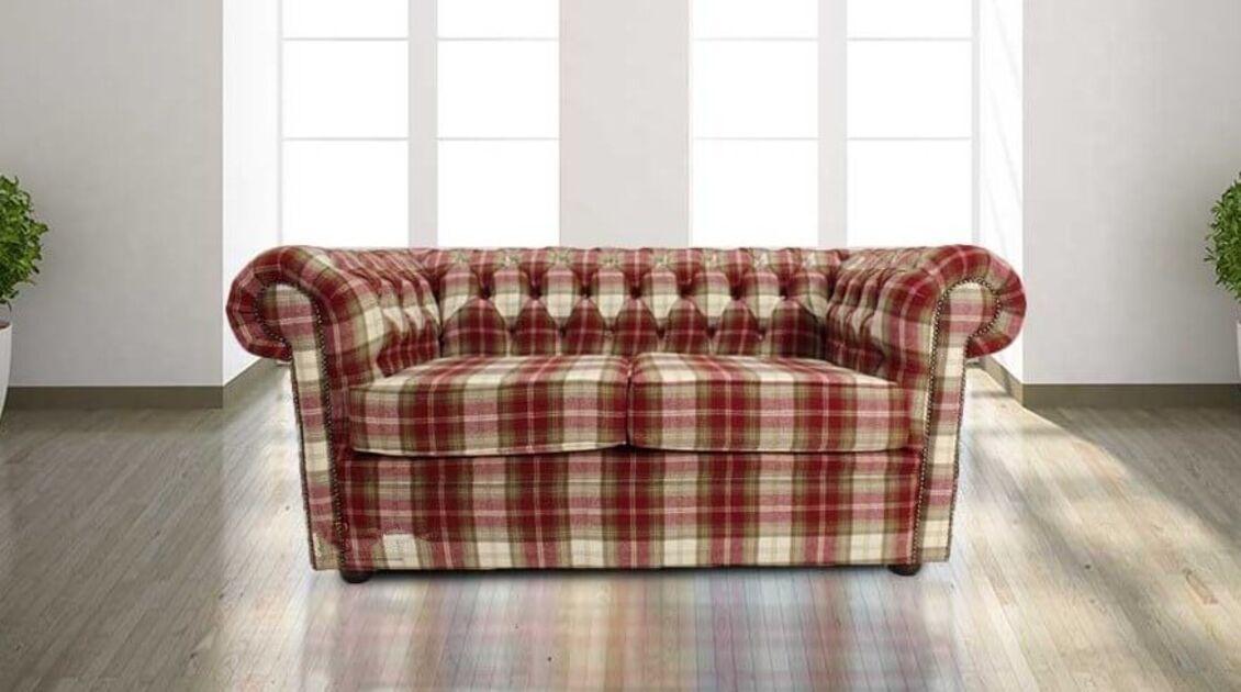 Buy Red Tartan Wool Chesterfield Sofa At Designersofas4u