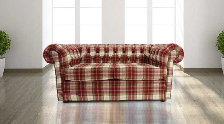 Chesterfield Arnold Wool 2 Seater Sofa Settee Fernie Red Tweed Check