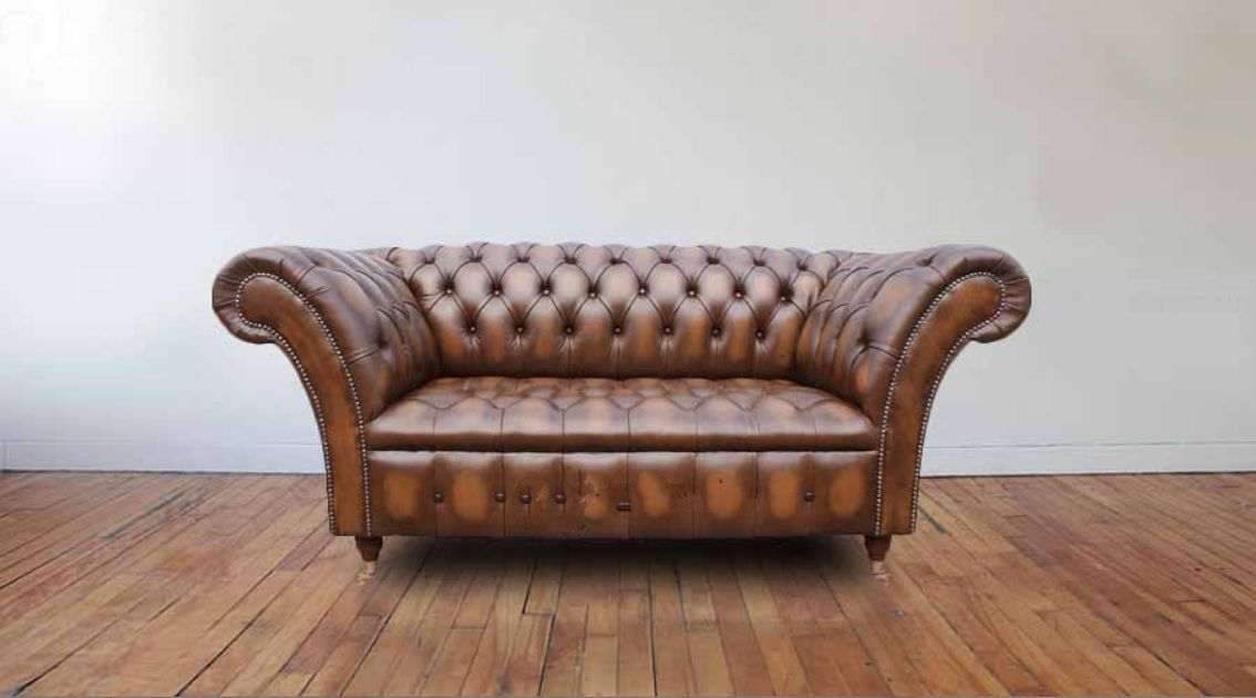 Chesterfield Balmoral 2 Seater Sofa Settee Antique Tan