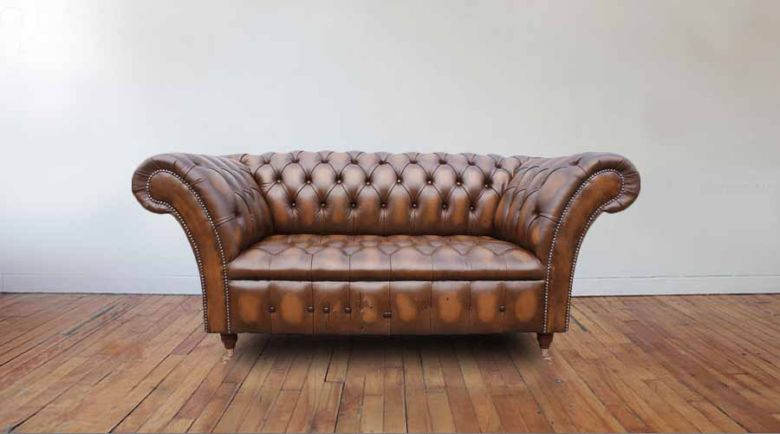 Chesterfield Cliveden 2 Seater Sofa Settee Antique Tan Leather