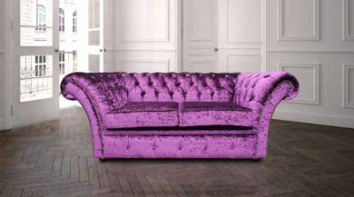 Chesterfield Balmoral Purple 2 Seater Sofa Settee Boutique Crush Velvet Fabric