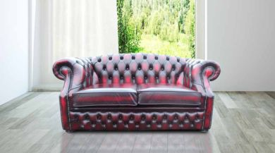 Chesterfield Buckingham 2 Seater Oxblood Leather Sofa Offer