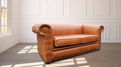 Chesterfield Decor 2 Seater Settee Old English Saddle Leather Sofa