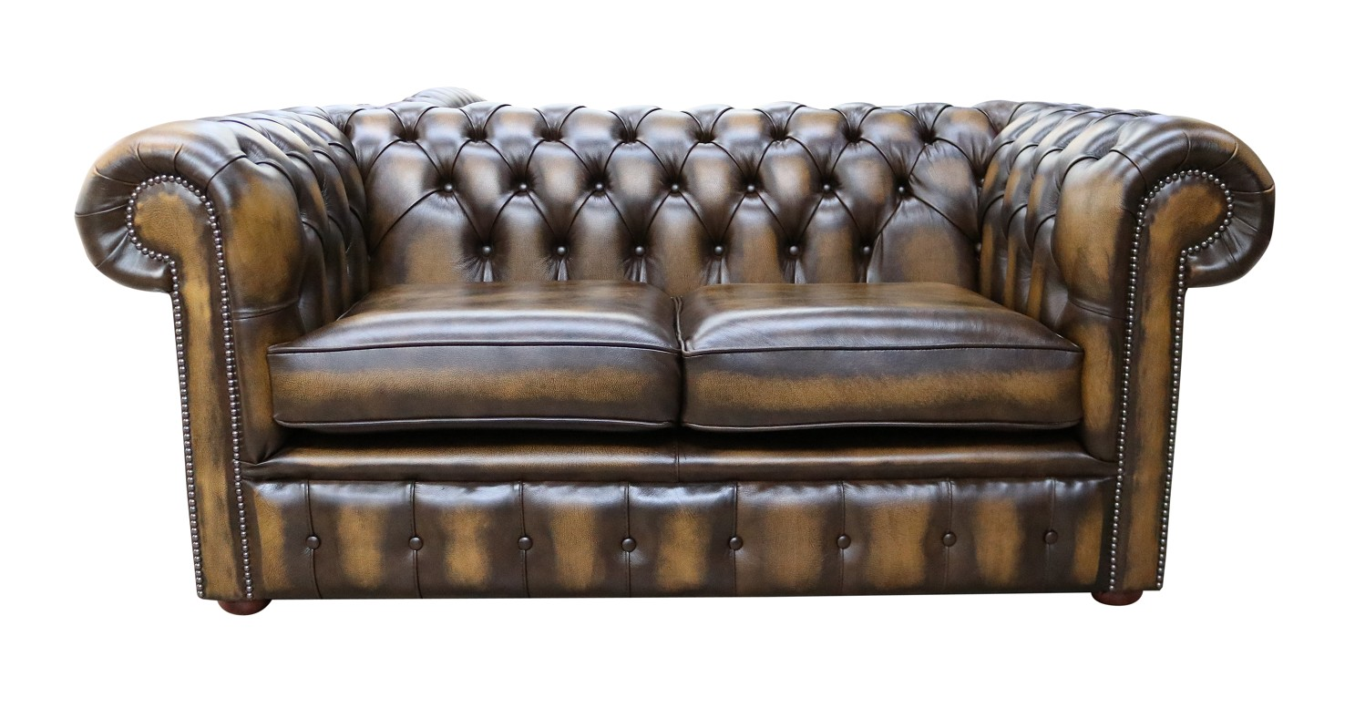 Wondrous Chesterfield 2 Seater Antique Gold Leather Sofa Offer Gmtry Best Dining Table And Chair Ideas Images Gmtryco