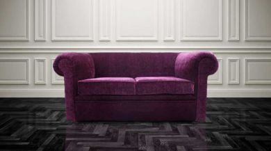 Chesterfield Hampton 2 Seater Settee Purple Aubergine Fabric Sofa