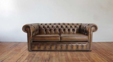 Chesterfield London 2.5 Seater Antique Brown Leather Sofa Settee Offer