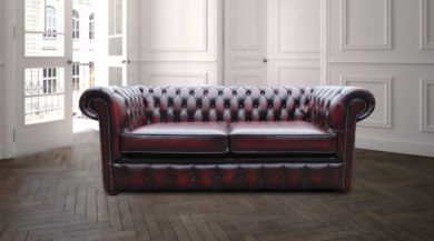 Chesterfield London 2.5 Seater Antique Oxblood Leather Sofa Settee Offer