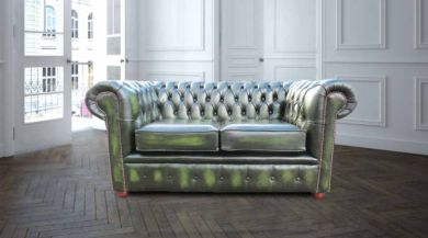 Chesterfield London 2 Seater Antique Green Leather Sofa Settee Offer
