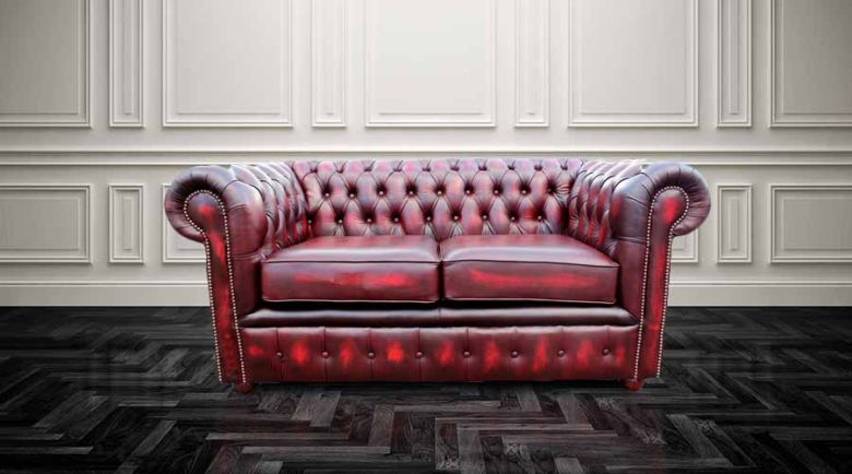 Chesterfield London 2 Seater Antique Oxblood Leather Sofa Settee Offer