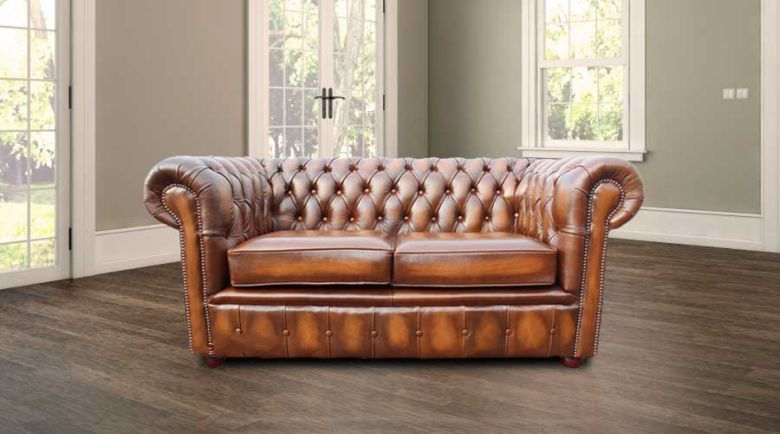 Chesterfield London 2 Seater Antique Tan Leather Sofa Settee Offer