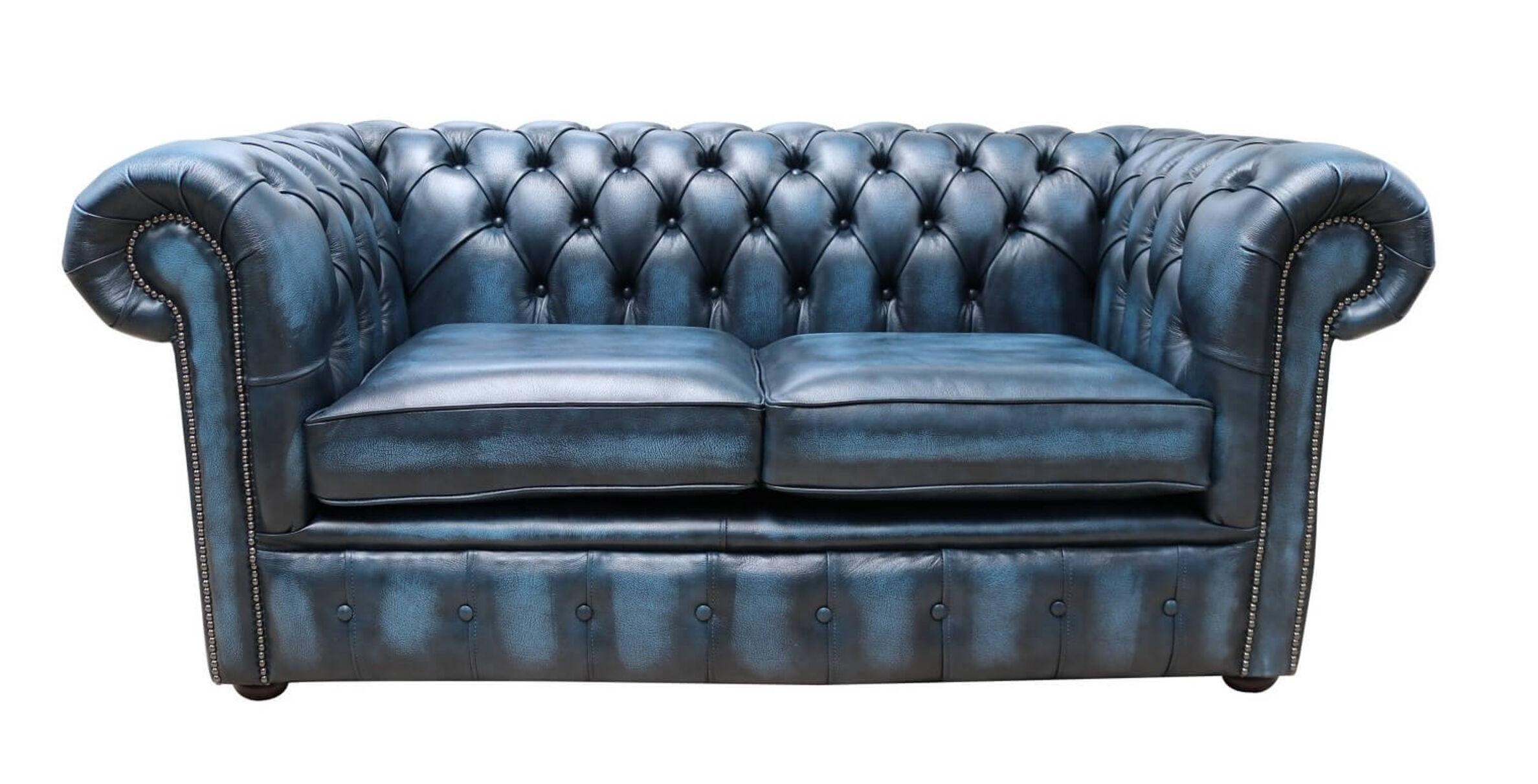 Buy Blue Loveseat Leather Chesterfield Settee Designersofas4u