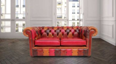 Chesterfield Patchwork Old English 2 Seater Settee Leather Sofa Offer