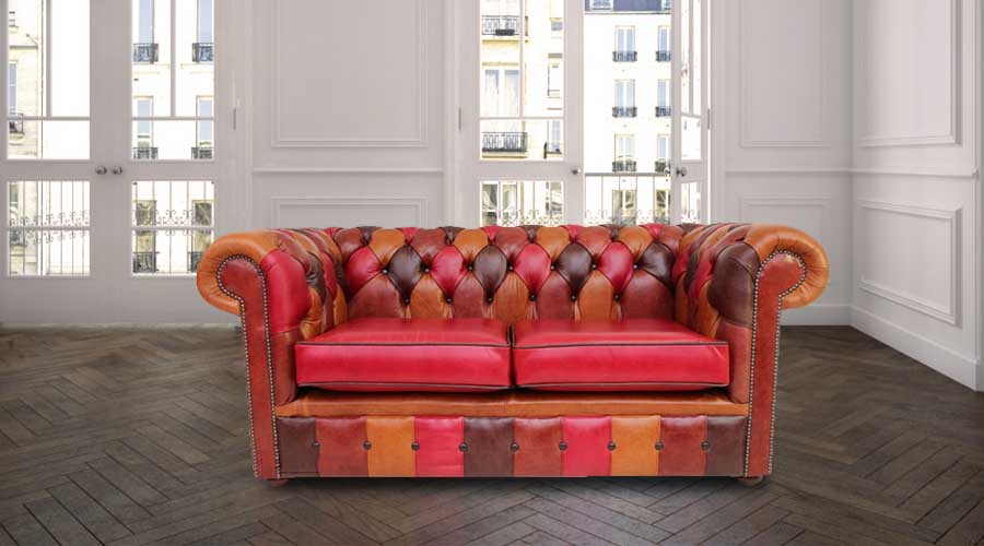 Chesterfield Patchwork Old English 2 Seater Settee Leather