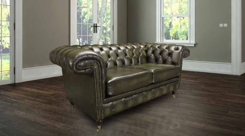 Chesterfield Chelsea 2 Seater Antique Green Leather Sofa Offer