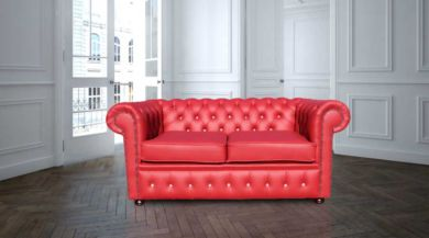 Chesterfield Crystal Red Diamond Leather Sofa Offer