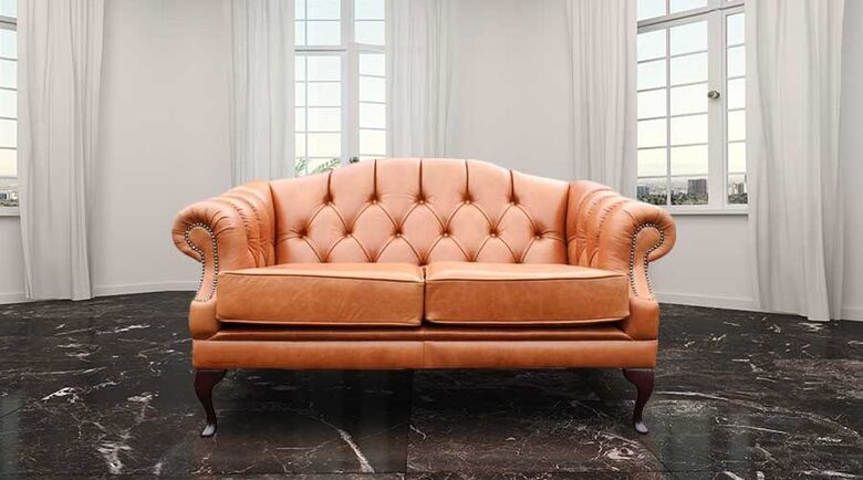 Chesterfield Victoria 2 Seater Leather Sofa Settee Old English Tan Leather