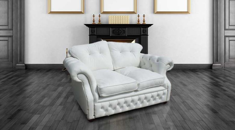 Era Crystal 2 Seater Sofa Settee Traditional Chesterfield White Leather