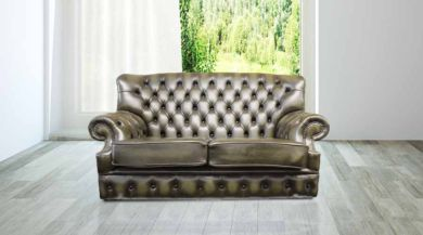 Monks Chesterfield 2 Seater Antique Green Leather Sofa Offer