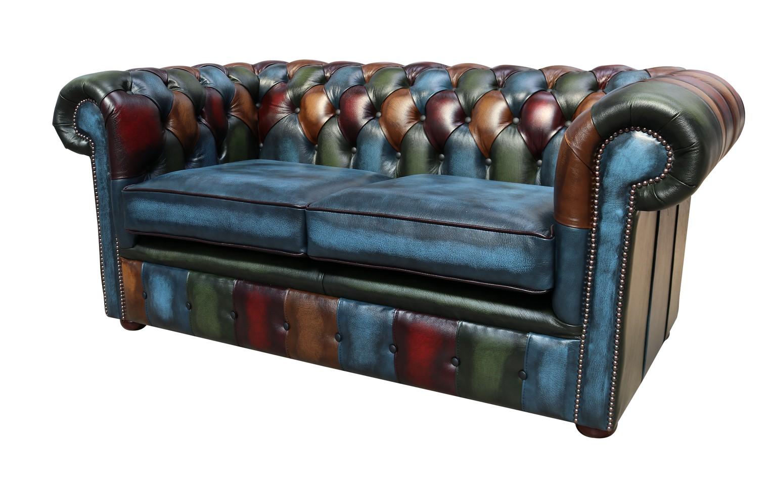 Remarkable Patchwork Leather 2 Seater Chesterfield Sofa Shop Now Home Interior And Landscaping Sapresignezvosmurscom