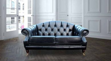 Victoria 2 Seater Chesterfield Leather Sofa Settee Old English Black Leather