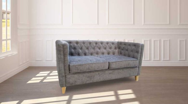 York Chesterfield Sofa Slate Grey Fabric