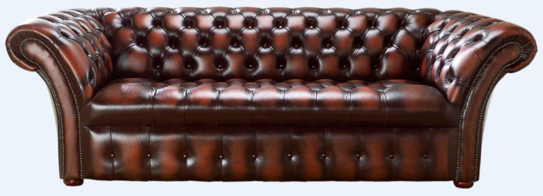 Chesterfield 3 Seater Balmoral Buttoned Seat Leather Sofa Antique Light Rust