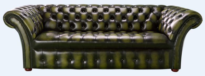 Chesterfield 3 Seater Balmoral Buttoned Seat Leather Sofa Antique Olive Green
