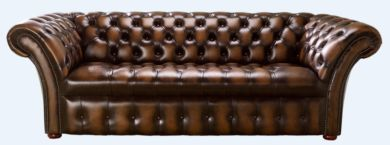 Chesterfield 3 Seater Balmoral Buttoned Seat Leather Sofa Antique Autumn Tan
