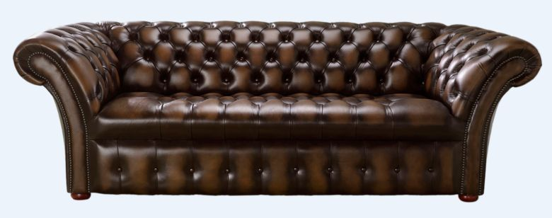 Chesterfield 3 Seater Balmoral Buttoned Seat Leather Sofa Antique Brown