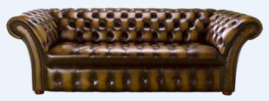 Chesterfield 3 Seater Balmoral Buttoned Seat Leather Sofa Antique Gold