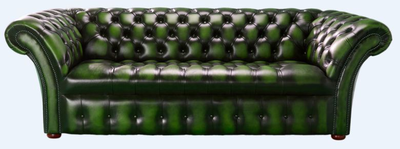 Chesterfield 3 Seater Balmoral Buttoned Seat Leather Sofa Antique Green