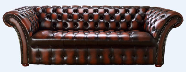 Chesterfield 3 Seater Balmoral Buttoned Seat Leather Sofa Antique Rust