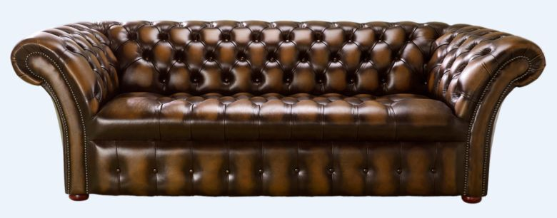 Chesterfield 3 Seater Balmoral Buttoned Seat Leather Sofa Antique Tan