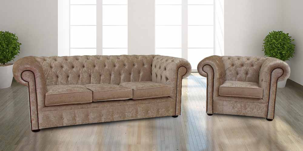 buy velvet fabric chesterfield sofa armchair suite