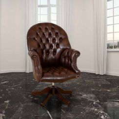 Chesterfield Directors Leather Office Chair Antique Autumn Tan