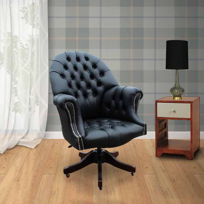 Buy Black Leather Chesterfield Directors Office Chair