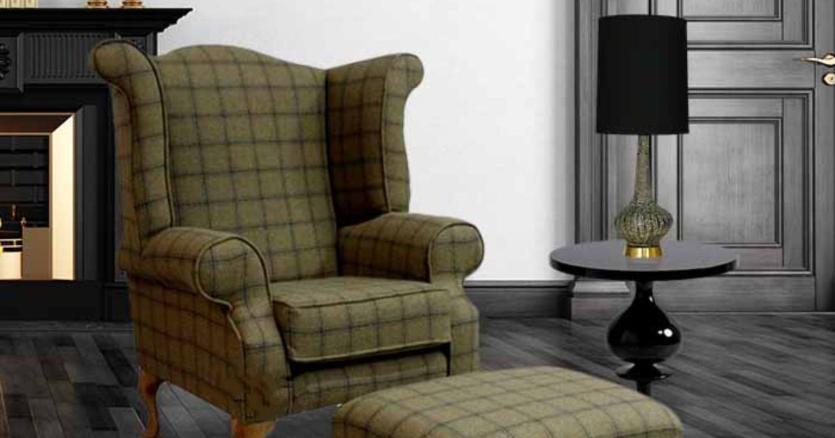 Buy Wool Chesterfield Wing Chair In Grey Tartan Online