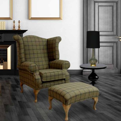 Chesterfield Edward Queen Anne Wool Tweed Althrop Topaz Wing Chair Fireside High Back Armchair + Footstool