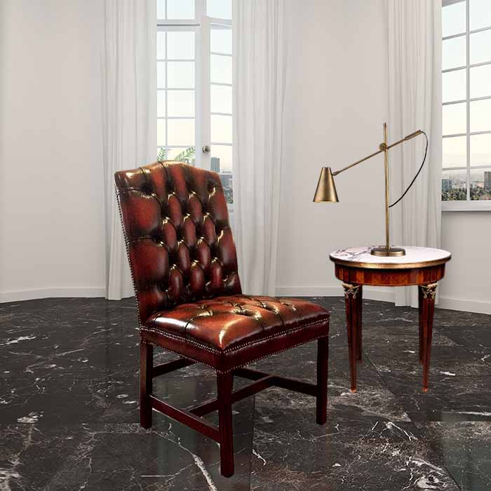Brown Leather Chesterfield Dining Chair Designersofas4u