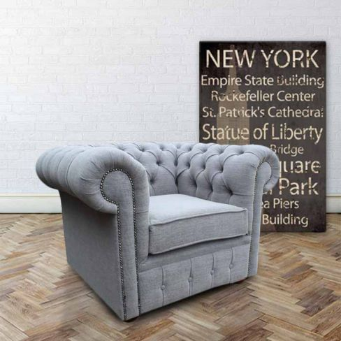 Buy Grey Linen Fabric Chesterfield armchair | DesignerSofas4U