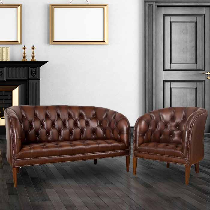 916bb7ff620 Buy brown leather Chesterfield sofa   club chair suite