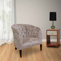 Chesterfield Mayfair Crystal Low Back Tub Chair Lustro Chalk Velvet