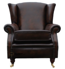 Southwold Wing Chair Fireside High Back Leather Armchair Antique Brown Leather