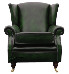 Southwold Wing Chair Fireside High Back Leather Armchair Antique Green Leather