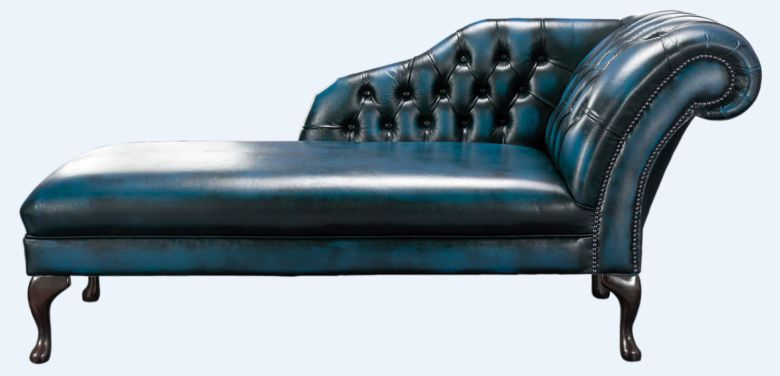 Chesterfield Chaise Antique Blue Leather Lounge Day Bed