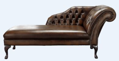 Chesterfield Chaise Antique Brown Leather Lounge Day Bed
