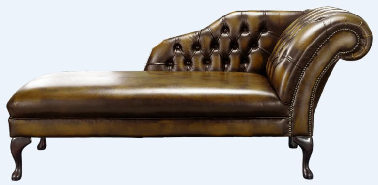 Chesterfield Chaise Antique Gold Leather Lounge Day Bed