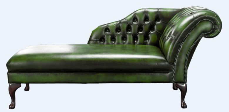 Chesterfield Chaise Antique Green Leather Lounge Day Bed