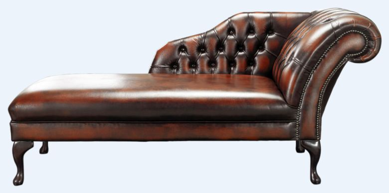Chesterfield Chaise Antique Light Rust Leather Lounge Day Bed
